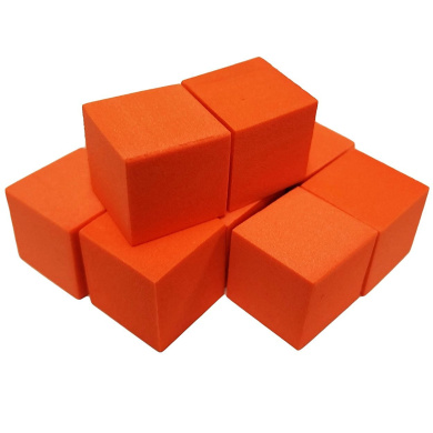 Set of 10 Blank Orange Foam Dice Couting Cubes 6 Sided 16mm Square Corner in Snow Organza Bag