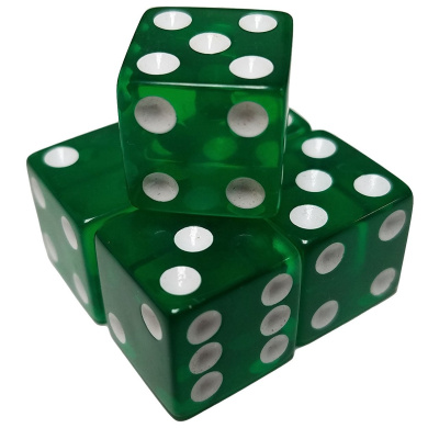 Set of 5 Dice Green Transparent 6 Sided White Pips Square Corner 16mm in Snow Organza Bag