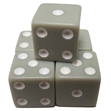 Set of 5 Pastel Grey Colour 6 Sided Dice Square Corner White Pips 16mm in Snow Organza Bag
