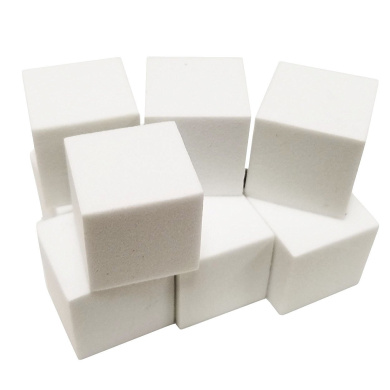 Set of 10 Blank White Foam Dice Couting Cubes 6 Sided 16mm Square Corner in Snow Organza Bag