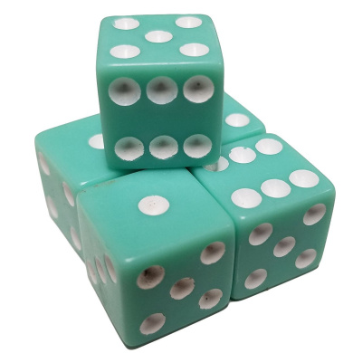 Set of 5 Pastel Aqua Green Colour 6 Sided Dice Square Corner White Pips 16mm in Snow Organza Bag