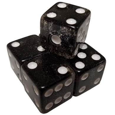 Set of 5 Glitter 6 Sided Dice Black Square Corner 16mm in Snow Organza Bag