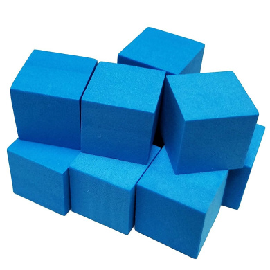 Set of 10 Blank Blue Foam Dice Couting Cubes 6 Sided 16mm Square Corner in Snow Organza Bag