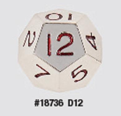 Koplow Metal Polyhedral 12 Sided Die with Red Pips