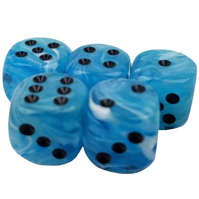 Set of 5 Swirl Ice Light Blue Round Corner Opaque 16mm Black Spots in Snow Organza Bag