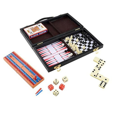 Parlour Game Set by Wish Novelty - 6 Fun Games for Kids & Family - Includes Backgammon, Cards, Checkers, Chess, Dominoes, Cribbage - 28cm Travel Compact Size - Best Gift for Boy or Girl 5+