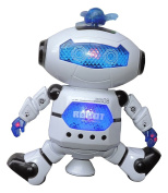MazaaShop Digital Dancing Warrior Robot Toy Figure with Colourful Rotating Lights, Music, Dancing Action, 360° Spins