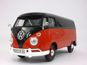 Volkswagen - VW - T1 Delivery Bus Van 1/24 Scale Diecast Metal Model - RED/BLACK