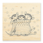 """Stampendous Wooden Handle Rubber Stamp, """"Star Spangled Mice"""""""