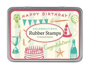 Cavallini Papers & Co Rubber Stamp Set Celebrations, 14 Assorted Wooden Rubber Stamps Packaged in a Tin