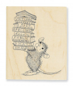 "Stampendous Wooden Handle Rubber Stamp, ""Stack of Books"""