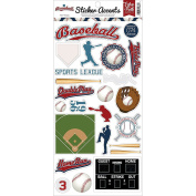 Echo Park Paper SW6801 Baseball Stickers, 15cm x 33cm , Multicolor
