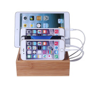 Lottogo Bamboo Charging Station Stand Desktop Organiser Dock for Multiple Devices(Compatible Most Multi-Port USB Charger)