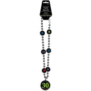 "Amscan Elegant Beaded Necklace with ""30"" Pendant, Black/Green, 17"""