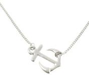 Sideways Anchor Pendant Necklace, Rhodium Plated