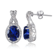 Sterling Silver Gemstone & White Topaz X and Oval Drop Earrings