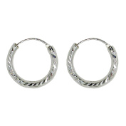 Sterling Silver Diamond Cut Hinged Continuous Endless Hoop Earrings,