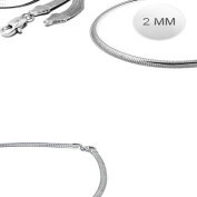 Sterling Silver Italian Solid Flat Omega Chain 2MM Luxurious Nickel Free Necklace with Lobster Claw Clasp Closure
