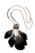 eManco Gypsy Style Black Feather Necklace & Earrings for Women Fashion Jewellery