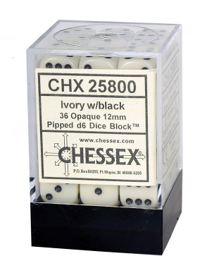 Opaque 12mm D6-36 Dice Set, Ivory with Black
