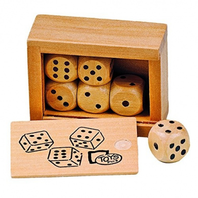 Cube Box Game with 6 Wooden Cubes