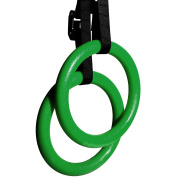 Reehut Gymnastic Rings with Adjustable Straps, Metal Buckles & Ebook - Home Gym (Set of 2) - Non-Slip - Great For Workout, Strength Training, Fitness, Pull Ups and Dips