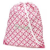 aBaby Pink Greek Key Gym Bag, Name