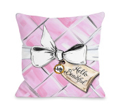 One Bella Casa Hello Beautiful Quilted Bow/Pink Quilted Lightweight Duvet Cover, Full/Queen