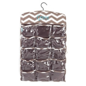 aBaby Chevron Hanging Organiser, Taupe, Name Grace