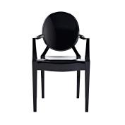 Design Tree Home Modern Ghost Arm Chair, Black