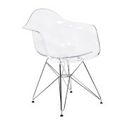 Design Tree Home Charles Eames Style DAW Arm Chair, Clear ABS Plastic and Stainless Steel Legs