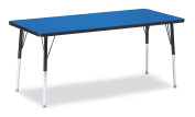 Berries 6413JCA183 Rectangle Activity Table, A-Height, 80cm x 180cm , Blue/Black/Black