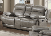 Christies Home Living Estella Reclining Love Leather Seat, Grey