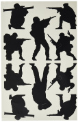 Moulding Mates Military Action Men 10 Moulding Mates Home Decor Peel and Stick Vinyl Wall Decal Stickers