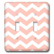 3dRose lsp_179681_2 Pastel Coral Orange and White Zig Zag Chevron Pattern - Salmon Pink Double Toggle Switch
