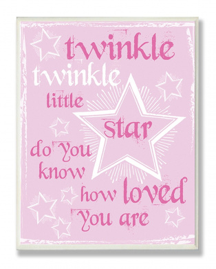 The Kids Room by Stupell Twinkle Twinkle Nursery Rhyme on Pink Rectangle Wall Plaque