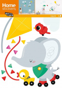 Nouvelles Images HOST1908 Elephant Kite Kids Wall Decals