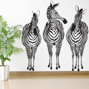 My Wonderful Walls Zebra Trio Wall Sticker Decal Peel, Stick and Removable, Black/White