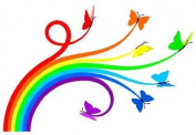 Wallmonkeys Rainbow Butterflies Peel and Stick Wall Decal, 90cm Width by 60cm Height