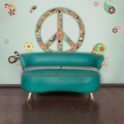 My Wonderful Walls Paisley Peace Sign Wall Sticker Decal Kit, Peel and Stick and Removable, Multicoloured