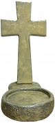Faith and Praise Illuminations CR113 Concrete Cross with Candle Holder Base Pearl Metallic Paint Finish