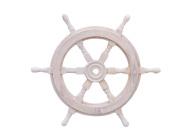 Hampton Nautical Classic Wooden Whitewashed Decorative Ship Steering Wheel 46cm - Nautical Home Decorating