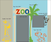 Wall Decor Plus More WDPM3807 ZOO Theme Playhouse Kids Room Wall Decals Vinyl Stickers Wall Decor Graphics, Multi-Colours, 6 Piece