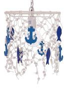Fishing Net Pendant lamp, White & Blue