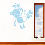 Monkey in the Jungle Childrens Jungle Animal Wall Sticker - Wall Art Vinyl Decal Transfer, Bedroom, Playroom, Easy to Apply, Free Applicator, Easy Peel - (Please Choose Your Size & Colour Using the Selection Boxes) - by Rubybloom Designs