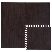 EVA foam Puzzle Mat by eyepower | 4pcs 60x60cm endlessly expandable + frame | interlocking jigsaw soft carpet for walking barefoot lie down fitness sport yoga judo kids playground decoration muffle noise thermal insulator | Dark brown wooden colour
