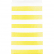 Creative Converting 15 Count Paper Treat Bags with Stripes, Medium, Mimosa Yellow