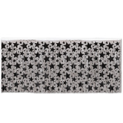 1-Ply FR Metallic Table Skirting (silver w/prtd black stars) Party Accessory (1 count)