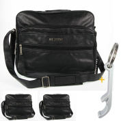Black Street Shoulder Bag # 6660 Men Faux Leather Travel Bag
