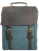 MatchLife Women's New Vintage Canvas Leather Double Shoulder BackPack Bag Blue